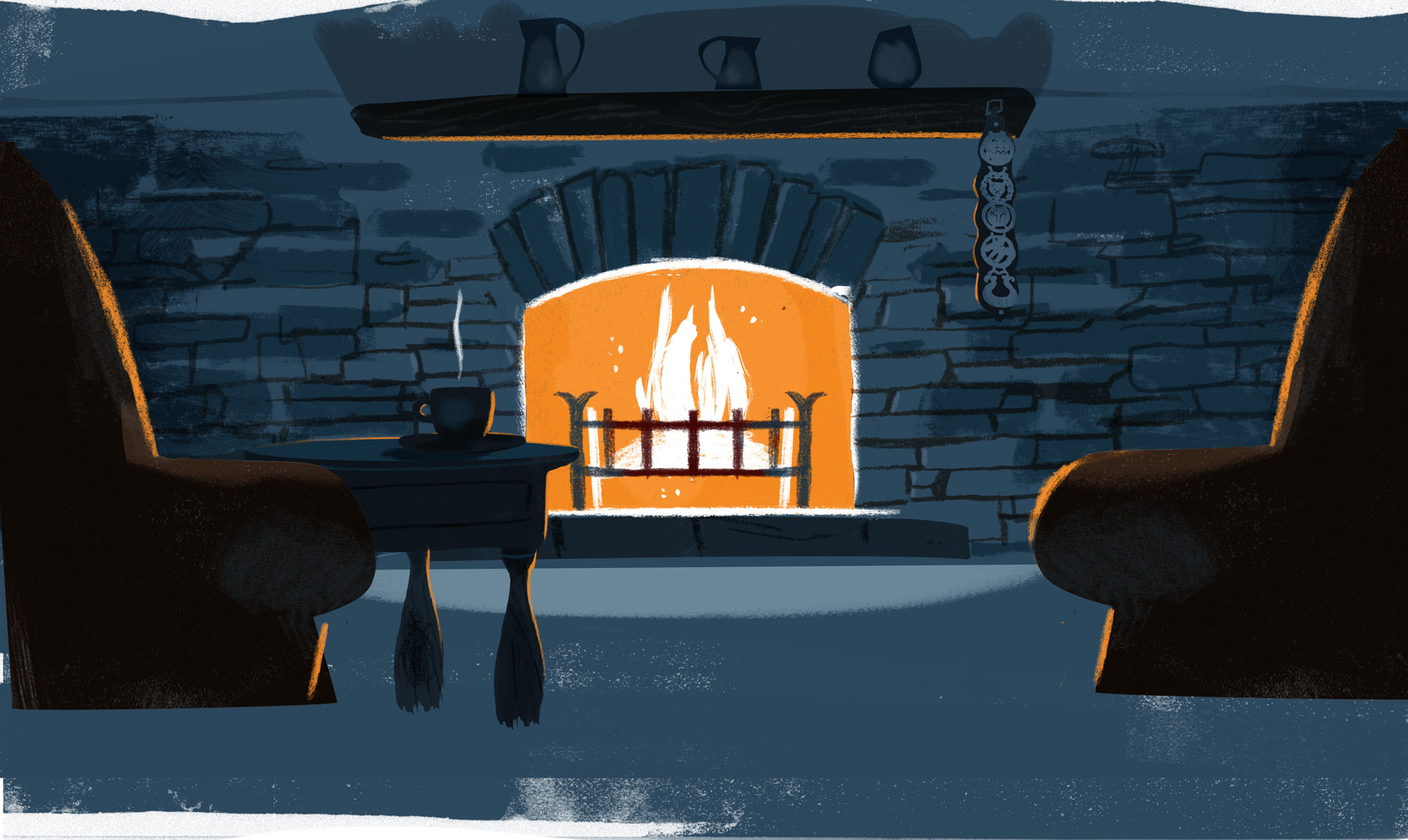 The hearth fireplace